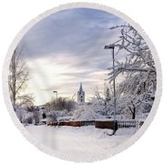 Winter Wonderland Redux Round Beach Towel by Marius Sipa
