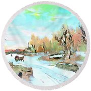 Round Beach Towel featuring the painting Winter Wonderland by Wayne Pascall