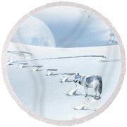 Winter Wonderland - Wolf Round Beach Towel