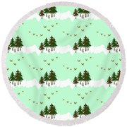 Round Beach Towel featuring the mixed media Winter Woodlands Bird Pattern by Christina Rollo