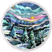 Winter Woods At Dusk Round Beach Towel