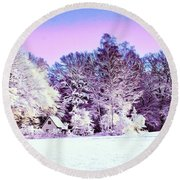 Round Beach Towel featuring the digital art Winter by Zedi