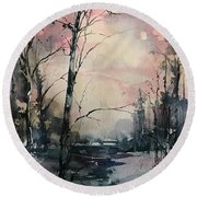 Winter's Blush Round Beach Towel by Robin Miller-Bookhout