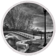 Round Beach Towel featuring the photograph Winter's Bridge by Rodney Campbell