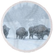 Winter's Burden Round Beach Towel