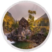 Round Beach Towel featuring the photograph Winter's Coming by Darren White