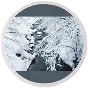 Round Beach Towel featuring the photograph Winters Creek- by JD Mims