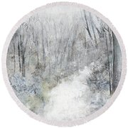 Round Beach Towel featuring the painting Winter's Day by Robin Maria Pedrero