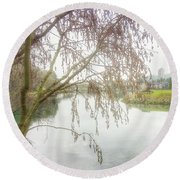 Round Beach Towel featuring the photograph Winter's  End  by Connie Handscomb