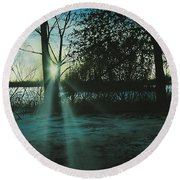 Winter's Evening Scout Round Beach Towel