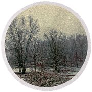 Winter's First Snowfall Round Beach Towel