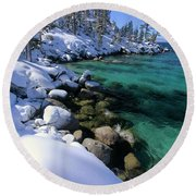 Round Beach Towel featuring the photograph Winter's Gold by Sean Sarsfield