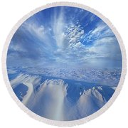 Round Beach Towel featuring the photograph Winter's Hue by Phil Koch