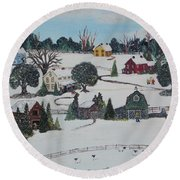 Round Beach Towel featuring the painting Winters Last Snow by Virginia Coyle