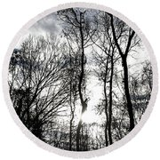 Winter's Mystic Horizon Round Beach Towel