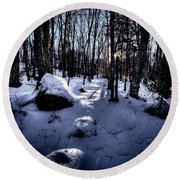 Round Beach Towel featuring the photograph Winters Shadows by David Patterson