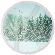 Winter's Watch Round Beach Towel