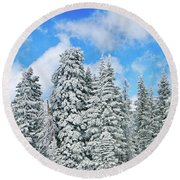 Winterscape Round Beach Towel