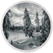 Winter Wonderland Harz In Monochrome Round Beach Towel by Andreas Levi