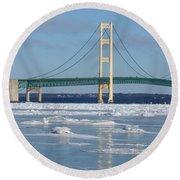 Wintery Bridge Round Beach Towel