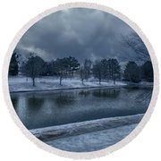 Icy Reflections  Round Beach Towel