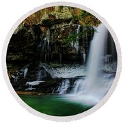 Wintery Waterfalls Crop Round Beach Towel by Barbara Bowen