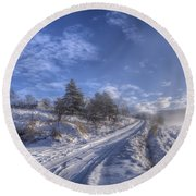 Wintry Road Round Beach Towel