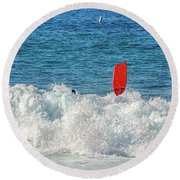 Round Beach Towel featuring the photograph Wipe Out by David Lawson