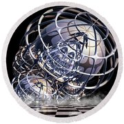 Round Beach Towel featuring the digital art Wire Frame Fractal by Melissa Messick