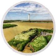 Round Beach Towel featuring the photograph Wirral Lighthouse by Ian Mitchell