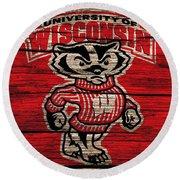 Wisconsin Badgers Barn Door Round Beach Towel