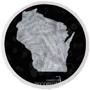 Wisconsin Map Music Notes 2 Round Beach Towel