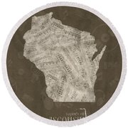 Wisconsin Map Music Notes 3 Round Beach Towel