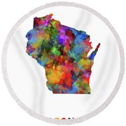 Wisconsin Map Watercolor  Round Beach Towel