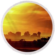 Wisconsin Misty Morning Farm Fields Sunrise Round Beach Towel
