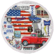 Wisconsin Road Trip Sign-square Round Beach Towel
