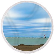 Round Beach Towel featuring the photograph Wisconsin Winter Lakefront by Steven Santamour