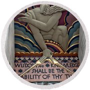 Wisdom Lords Over Rockefeller Center Round Beach Towel