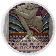 Round Beach Towel featuring the photograph Wisdom Lords Over Rockefeller Center by Lorraine Devon Wilke