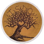 Round Beach Towel featuring the drawing Wisdom Love Tree by Aaron Bombalicki