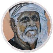 Wisdom Portrait Round Beach Towel