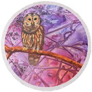 Round Beach Towel featuring the painting Wise One by Nancy Jolley