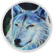 Wise White Wolf Round Beach Towel