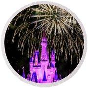 Wishes Fireworks Disney World  Round Beach Towel