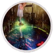 Round Beach Towel featuring the painting Wishing Well by Mo T