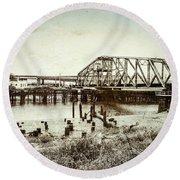 Wishkah River Swing Bridge Round Beach Towel