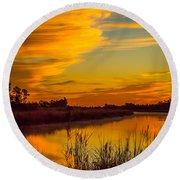 Wispy Cloud Sunrise Round Beach Towel by Tom Claud