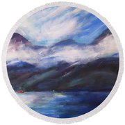 Round Beach Towel featuring the painting Wispy Clouds by Yulia Kazansky