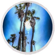 Round Beach Towel featuring the photograph Wispy Palms by T Brian Jones