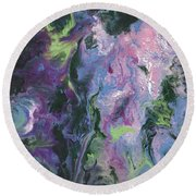 Round Beach Towel featuring the painting Wisteria Abstract by Jamie Frier